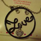 BRAMD NEW BLACK CIRCLE OF LOVE NECKLACE PIERCED EARRINGS SET IN GIFTBOX