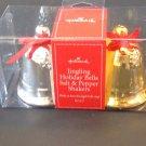 New Hallmark Salt & Pepper Shakers Holiday Christmas Jingling Bells Gold Silver