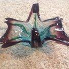 Mid Century Murano Art Glass Butterfly Shaped Ashtray Purple Amethyst Blue Green