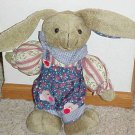 New Plush 13 Inch Bunny Rabbit Stuffed Animal Dressed in Country Outfit Bandana