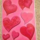 New Valentine's Day Red Pink Hearts 7 Static Window Clings Decals Love Romance