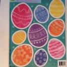 New Static Window Clings Set 9 Glittery Easter Eggs Orange Pink Yellow Blue