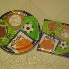 New Party Set Paper Plates Napkins Team Sports Baseball Soccer Football