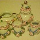 Sugar Bowl Creamer Toothpick Holder Salt & Pepper Shaker Matched Set Porcelain