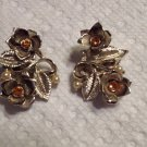 Vintage Mid-Century Amber Rhinestone Pearl Gold Tone Flower & Leaf Clip Earrings