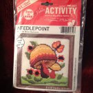 McNeill Needlepoint Stitchery Craft Kit 1619 Brown Mushroom 1980 5X5 Needlework