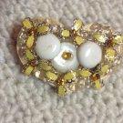 Vintage Folk Art Hand Made Yellow White Stones Amber Rhinestone Heart Pin Brooch