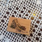 Wood Mounted Rubber Stamp Sandi Gore Evans Straw Hat Birdhouse Scrapbooking