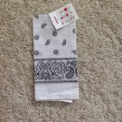 New Black White Paisley Bandana Skull Cap Du Rag Neckerchief Cancer Scarf Pet