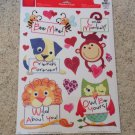 New Static Window Clings Set 16 Lion Monkey Bee Owl Hearts Valentine's Day