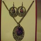 New Bpxed Set Necklace & Pierced Earrings Gold Purple Medallion Jewelry Bling