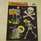 New Halloween Skeletons Skull Spooky Goth 5 Static Window Clings Decorations