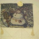 New Christmas Winter Tapestry Wall Hanging Snowman Snow Man Wood Dowel Tassels