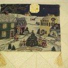 New Tapestry Wall Hanging Christmas Winter Village Tree Wood Dowel Gold Tassels