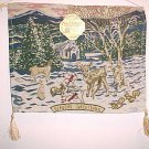 New Tapestrry Wall Hanging Christmas Winter Baby Deer Fawn Snow Forest Woods
