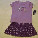 New Toddler Girls Outfit Size 24 Month Faded Glory Purple Top & Polka Dot Skirt