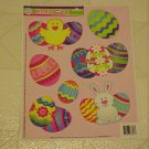 New Static Window Cling Set 7 Easter Bunny Decorated Eggs Decals Chicks Pink