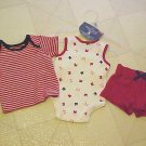 New Faded Glory Infant Outfit Newborn Red White Blue 3 Pc Shorts Top Creeper