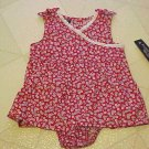 Faded Glory Infant Girls Size 3-6 Month Red Flowered Dress Panties Outfit New