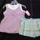 Kidgets 2 Pc Outfit Toddler Girls 3T Purple White Layered Top Plaid Shorts New