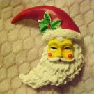 Pin Brooch Santa Claus Christmas Holiday Jewelry Hand Painted Kris Kringle