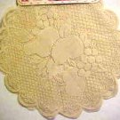 "Brand New Pair Ecru Tan Lace 16"" Round Fruit Pattern Lace Doilies Doily Gift"