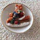 Vintage Porcelain Three Dimensional 3D Christmas Plate Teddy Bear Toys On Sled