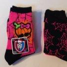 New 2 Pair Ladies Crew Socks Monster High Sz 9-11 Stockings Orange Pink Mattel