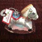 New Glass Christmas Tree Ornament Hand Painted Rocking Horse Glittery