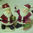 Brand New Set of 2 Porcelain Santa Claus Figurines Christmas Ornaments