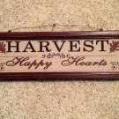 "Wall Plaque Hanging Harvest Happy Hearts Wood Frame Oak Leaves 19"" x 6"""