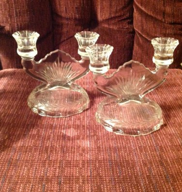 Mid Century Vintage Retro Jeanette Glass Clear Double Bowl Candle Holders