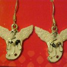 New Silver Tone Glittery Angel Pierced Earrings Costume Jewelry Free Shipping