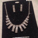 New Vintage Style Clear Rhinestone Necklace and Pierced Earrings Set Jewelry