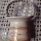 Hand Crafted Hand Made Signed Art Pottery Tan & White Basket Braided Handle