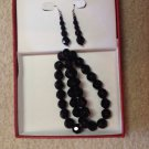 New in Giftbox Black Crystal Beaded Beads Necklace & Dangling Pierced Earrings