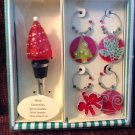 New Boxed Set Christmas Tree Glass Wine Bottle Stopper & 4 Wine Glass Charms