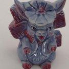 Vintage Planter Pot Blue Porcelain Bunny Rabbit Flower Hat Fence Pottery Purple
