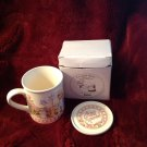 1990 Ceramic Coffee Mug Cup & Saucer Lid Watkins Country Kids Moms Are Special