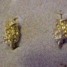 Vintage Dainty Silver Tone Clear Rhinestone Screw Back Earrings Jewelry Bling