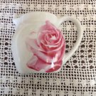 Department 56 Porcelain China Teapot Shape Pink Rose Pattern White Wall Pocket