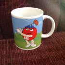 2003 White Ceramic Coffee Mug Cup M & M's Candy Red Playing Golf Yellow Baseball