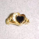 Vintage Gold Tone Black Stone Clear Rhinestone Crystals Heart Ring Bling Jewelry