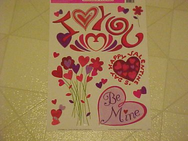 New Static Window Clings Valentines Day I Love You Hearts Romance Decals