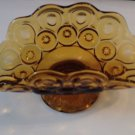 L E Smith Glass Banana Boat Amber Moon and Stars Pattern Pressed Vintage Gold