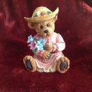 "Country Girl Teddy Bear Holding Bouquet of Flowers Wearing Straw Hat 8"" Figurine"