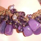 New Bracelet Purple Dangling Stones Beads Rocks Jewelry Faux Buckskin Leather