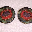 Pierced Earrings Vintage 1980s Red Hibiscus Flower Pattern Black Red Jewelry