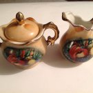 Creamer Sugar Bowl & Lid Vintage Gilt Fruit Pattern Enesco Japan E2355 Demitasse