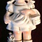 Figurine Vintage White Japan Porcelain Girl Holding Basket European Costume